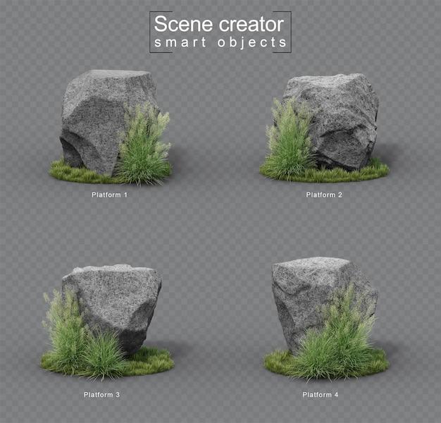 草セットの花崗岩の石のプラットフォーム