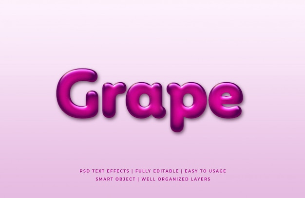 Grape 3d text style effect premium psd
