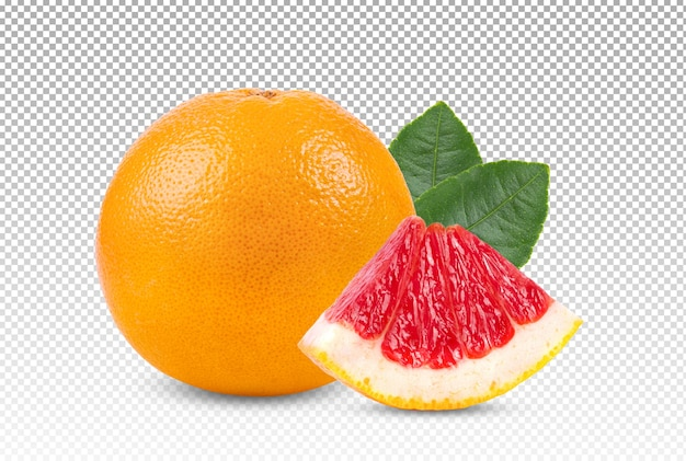 Grapefruit with leaf isolated