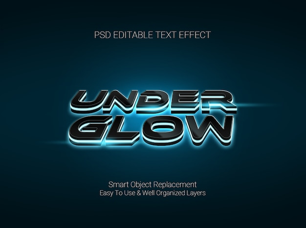 Graphic desgign software editable text effect with glowing under the text style
