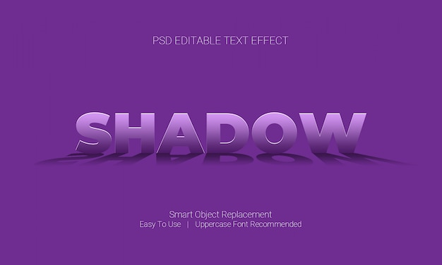 Graphic desgign software editable text effect with shadow under the text style