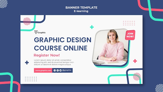 Graphic design course banner template