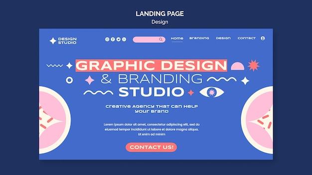 Целевая страница графического дизайна Бесплатные Psd
