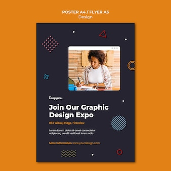 Graphic design print template with photo