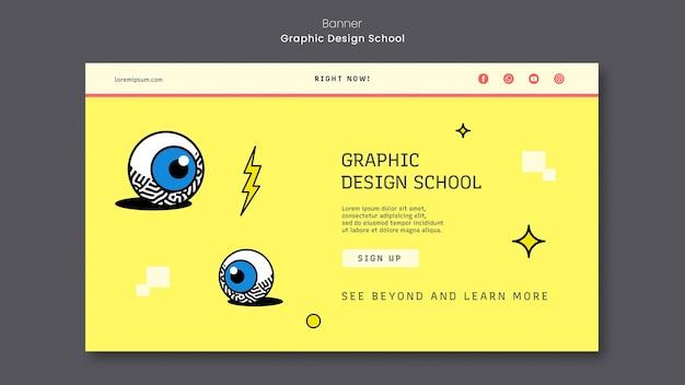 Graphic design school banner template