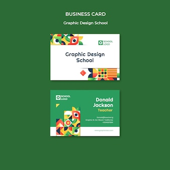 Graphic design school business card template