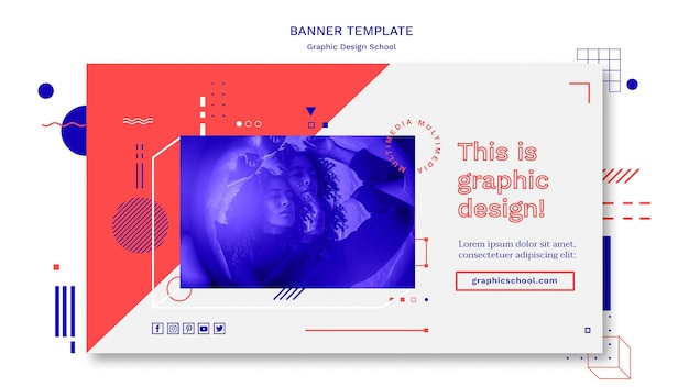 Graphic design school concept banner template