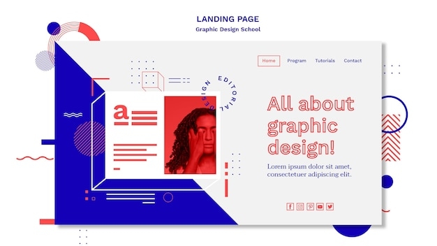 Modello di pagina di corsia del concetto di scuola di design grafico