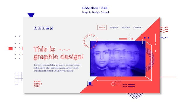 Graphic design school concept laning page template