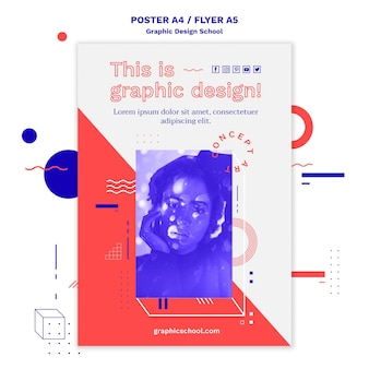 Шаблон плаката концепции школы графического дизайна