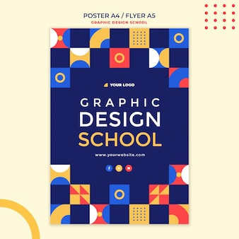 Graphic design school flyer template