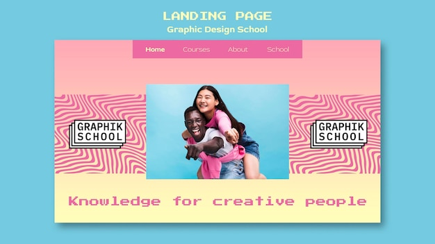 Graphic design school landing page