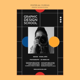 Graphic design school poster template