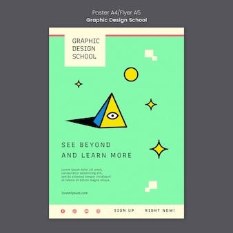 Modello di poster di scuola di design grafico