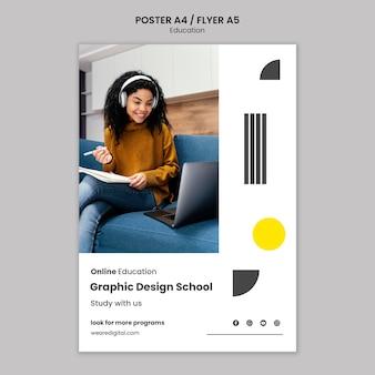 Graphic design school poster template