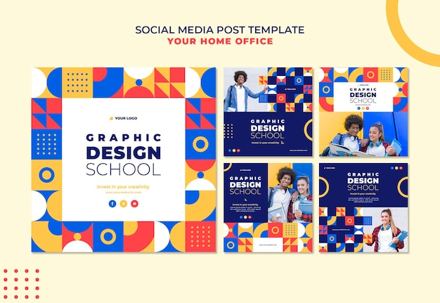 Graphic design school social media post