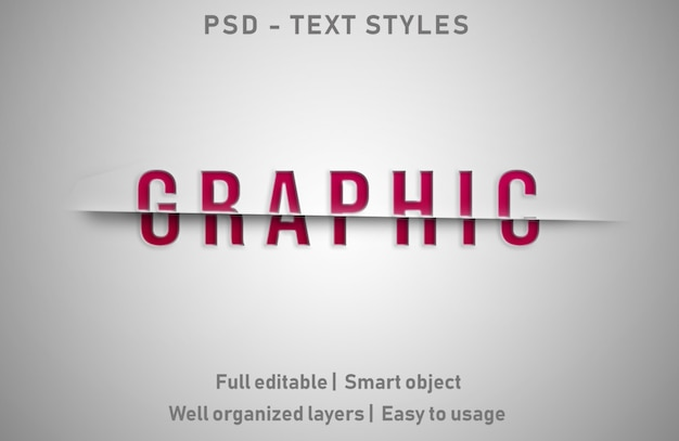 Graphic text effects style editable psd