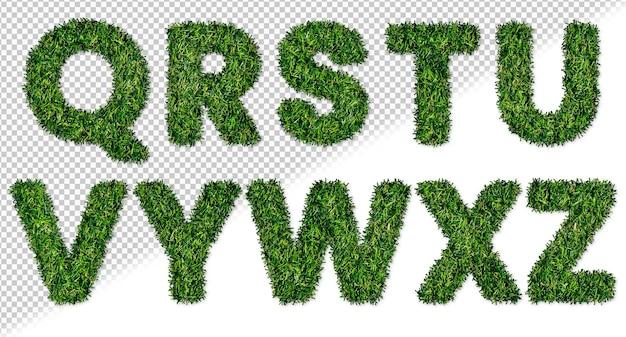 Set di lettere dell'alfabeto con erba da q a z