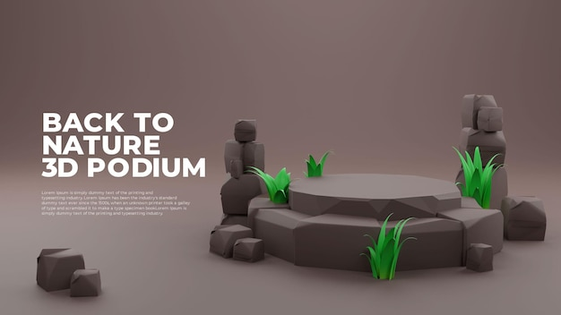 Grass stone 3d realistic podium product promo display