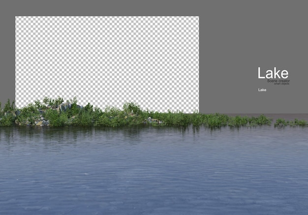 호수에 잔디 언덕