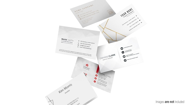 Gravity business card scene mockup isolated