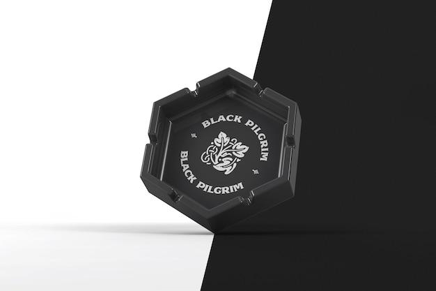 Пепельница с шестигранной гравитацией и макетом с принтом логотипа Premium Psd