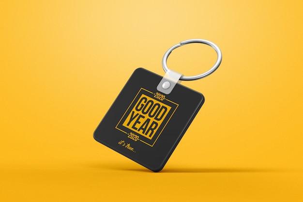 Gravity square keychain mockup
