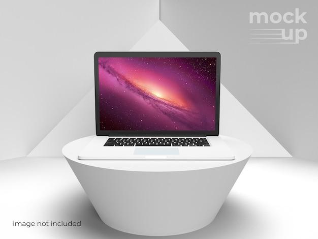 Серый 3d дизайн макета ноутбука