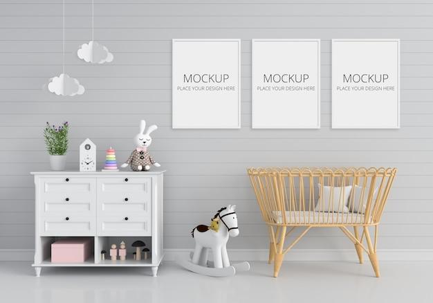 Camera per bambini grigia con mockup di cornice