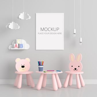 Gray child's room with frame mockup