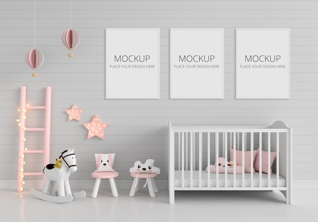 Gray child's room with frames mockup