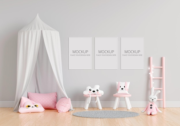 Gray children's room with frames mockup