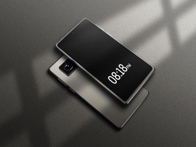 灰色のスマートフォンのモックアップ