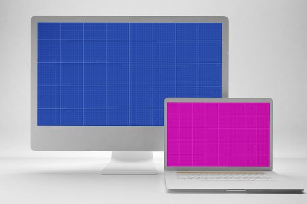 灰色のコンピューターとラップトップのモックアップ