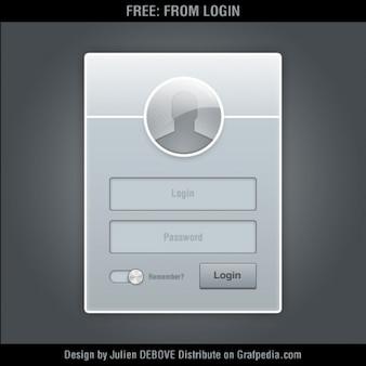 Gray login form psd