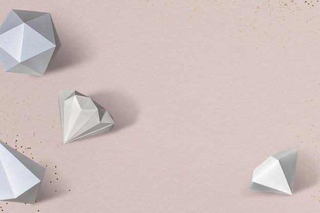 Gray paper craft diamond patterned background