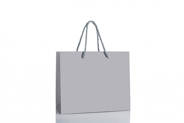 Gray paper shopping bag isolated.