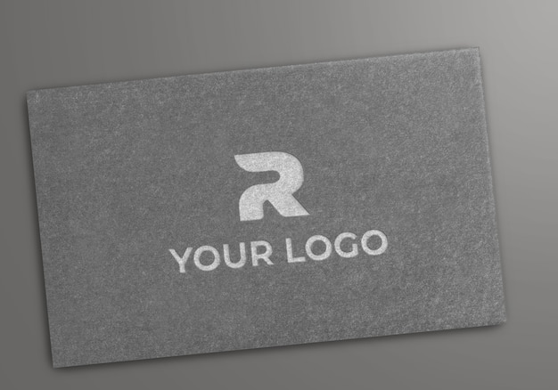 Gray paper with emboss logo mockup