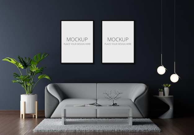 Gray sofa in living room with frame mockup