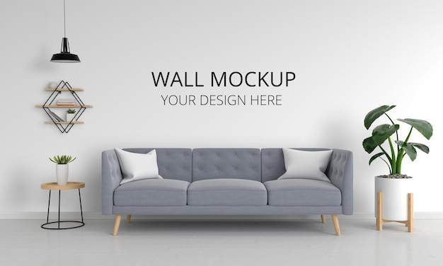 Gray sofa in living room with wall mockup