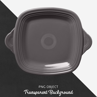 Gray square ovenware on transparent background