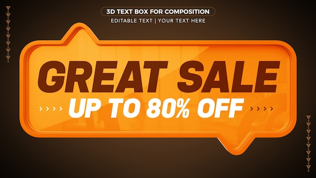 Great sale d text box with discount in 3d rendering