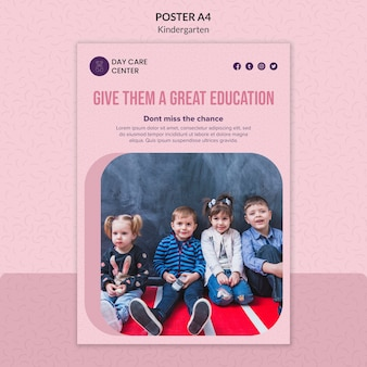 Greatest education kindergarten poster template