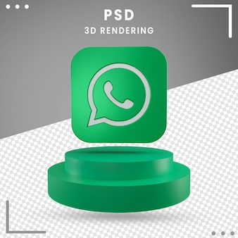 Green 3d rotated logo icon whatsapp isolated