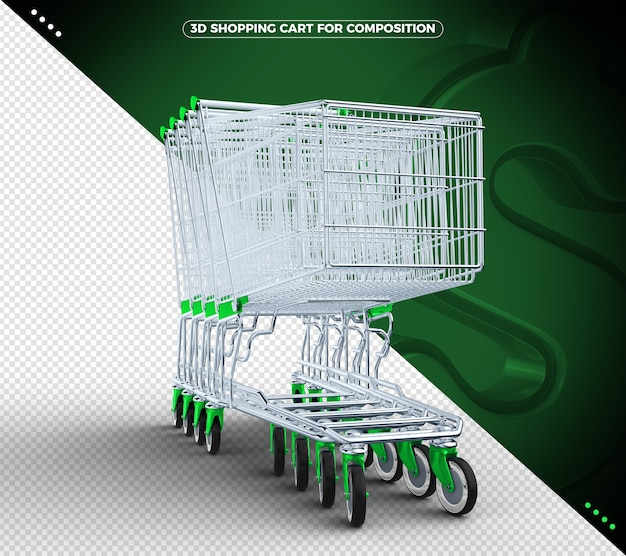 Green 3d shopping cart isolated