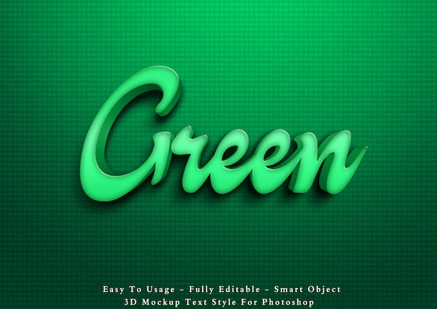 Green 3d text style effect