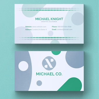 Green and grey minimal business card