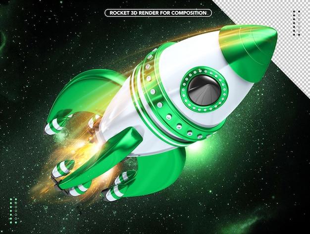 頭上を飛ぶ緑と白のリアルな3dロケット