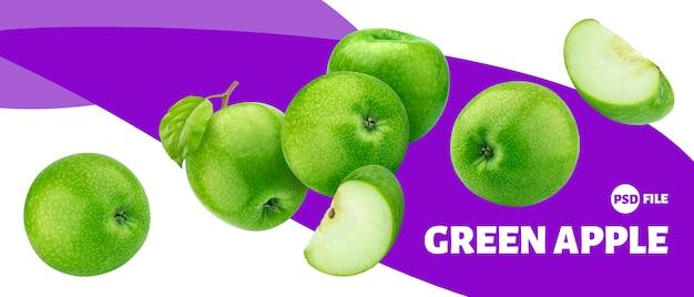 Зеленое яблоко фрукты баннер