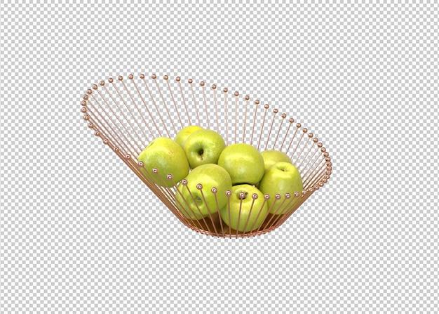 현대 바구니에 담긴 녹색 사과